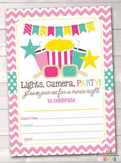 Pink Movie Party Printable Birthday Invitation Instant Download PDF