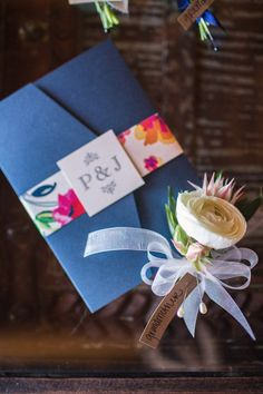 5x7 Metallic Navy and Coral Floral Pocket Wedding Invitation with Envelope Liner, Enclosure Band & Monogram with Details Insert and RSVP