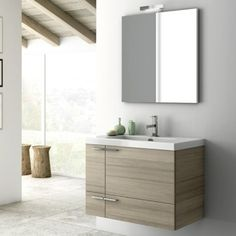 Nameeks ACF Canapa Larch Canapa ACF Wall Mounted / Floating Vanity Set with Wood Cabinet, Ceramic Top with 1 Sink and 1 Mirror Wood Vanity, Vanity Cabinet, Vanity Set, Mirror Vanity, Wood Bathroom, Bathroom Storage, Bathroom Vanities, Bathroom Furniture, Bathroom Ideas