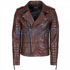 BIKER MEN BROWN QUILTED LEATHER JACKET for 25 468,36 руб - https://www.leathercollection.com/ru-ru/biker-men-brown-quilted-leather-jacket.html