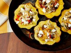 Roasted Acorn Squash with Mushrooms, Peppers and Goat Cheese Recipe | Guy Fieri | Food Network