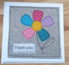 Paper Embroidery Ideas Handmade Thank you card - Free Motion Embroidery, Paper Embroidery, Embroidery Patterns, Machine Embroidery, Fabric Cards, Fabric Postcards, Fabric Gifts, Handmade Thank You Cards, Greeting Cards Handmade