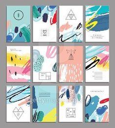 Set of artistic creative universal cards. Design for poster card invitation placard brochure flyer. Id Card Design, Business Card Design, Book Design, Layout Design, Web Design, Design Set, Corporate Design, Branding Design, Banners