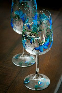 Items similar to Floral Blue Decorated Hand Painted Wine Glasses Hostess Gift on Etsy Decorated Wine Glasses, Hand Painted Wine Glasses, Wine Glass Crafts, Wine Bottle Crafts, Bottle Painting, Bottle Art, Wine Bottle Glasses, Beer Bottle, Glass Bottles