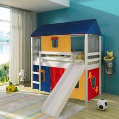 Cama infantil com escorregador Tenda Multicores e Telhado Completo – Casatema - CasaTema