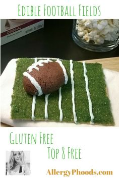 Just 5 ingredients and you can also make these adorable, gluten free snacks for your football fans! Printable here: http://allergyphoods.com/wp-content/uploads/2015/09/Fun-Size-Football-Fields.pdf  #TracyBNutrimom #KitchenGeek #football #footballsnacks #GlutinoFoods #EnjoyLifeFoods #feedmyfans #eatafootball #game #gamefood #fieldtime #YouTube #SunButter4Life #glutenfree #allergyfriendly #top8free #protein