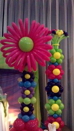 Flor decorativa hecha con globos - Balloon Flower Decor (fairy party)