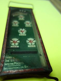 """Vintage Bagatelle Pinball Game """"Old"""" Glass Top Metal Caseing w Instructions 