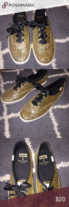 Gold Keds x Kate Spade NEVER WORN Adorable Kate Spade/keds collab gold glitter sneaker. Never worn these just not my style. No trades please. kate spade Shoes Sneakers