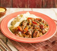 Cosy up on cold nights with our comforting slow cooker pork casserole. Chopped apples would make a great addition – add them in the final hour of cooking casserole recipe Slow cooker pork casserole Pork Casserole Recipes, Slow Cooker Casserole, Pork Recipes, Slow Cooker Recipes, Crockpot Recipes, Cooking Recipes, Pork Stew Slow Cooker, Crockpot Dishes, Slow Cooking
