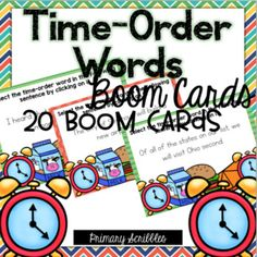 Are you 1:1? Are you looking for a fun way to practice the skill of time order transition words in your classroom? This online and interactive activity is perfect for the digital classroom. In this product, you get a link to a website. This activity contains 20 questions relating to the topic of time order transition words. Please check out the preview above to view four of the deck cards. Reading Skills, Teaching Reading, Guided Reading, Learning, Time Order Words, Motivational Activities, Transition Words, Behavior Plans, Math Challenge