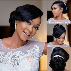 Hair by: Make-up: Bride Makeup, Wedding Hair And Makeup, Wedding Beauty, Bridal Hair, Wedding Bride, Wedding Dresses, Black Wedding Hairstyles, Black Girls Hairstyles, Bride Hairstyles