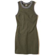 Hollister Tipped Knit Bodycon Dress ($40) ❤ liked on Polyvore featuring dresses, olive, army green dresses, cutout dresses, bodycon dress, cut-out dresses and racerback dress