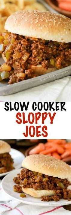 These Slow Cooker Sloppy Joes are the perfect way to feed a crowd because they can be prepared up to 24 hours in advance. Ground beef and peppers are cooked in the Crock Pot in a quick zesty sauce for a family favorite meal that's ready when you are!