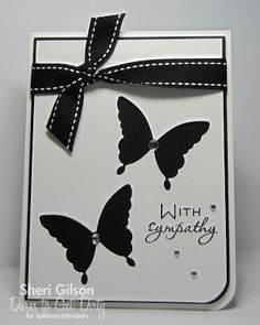 handmade sympathy card from Paper Crafty's Creations ... black and white ... uncluttered look ... negative space die cut butterflies ... like that they open to the mat below ... knotted ribbon ... like this card!!