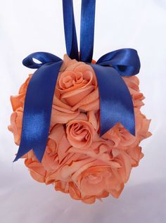 Fuzzy Peach Pomander with Navy Ribbon SIX AVAILABLE by BizouBizou, $40.00
