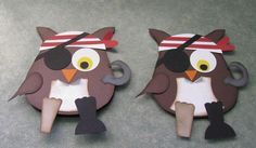 Pirate Owl Cards Great idea if we read a pirate story! Make this owl and write summary of story for classroom display reading comprehension. Pirate Day, Pirate Theme, Punch Art, Owl Crafts, Paper Crafts, Preschool Crafts, Owl Punch Cards, Owl Invitations, Owl Card