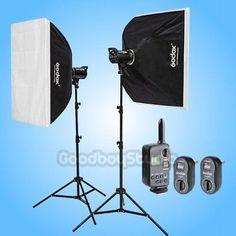 Godox DS300 (2X) 600W Studio Flash Strobe Light 60x90cm Softbox Kit  FT-16 120V