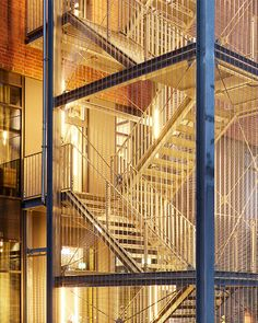 External stair tower cladding with HAVER Architectural Mesh. Architectural mesh ensueres a high level of security. Location: Hotel FREIgeist, Einbeck - Germany, Architect: Schwieger Architekten