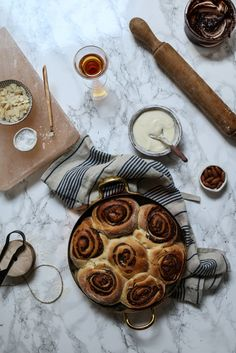Almond Amaretto Cocoa Praline Buns with Cream Cheese Frosting | Twigg Studios