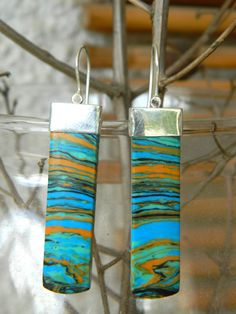 Rainbow Jasper Earrings Sterling Silver  Earrings by Rozmari, $72.00