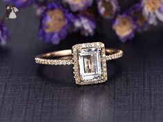 6x8mm Emerald Cut Topaz Engagement Ring,Solid 14K Yellow Gold Band,Wedding Promise Ring,Halo Ring,VS White Topaz,Ball Prongs - Wedding and engagement rings (*Amazon Partner-Link)