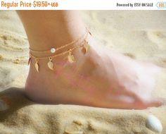 ON SALE, Layered Anklet, Multi Strand Anklet, Gold Anklet, Pearl Anklet, Leaf…