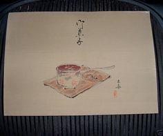 Vintage SIGNED Japanese TEA CEREMONY WOODBLOCK Print HAND PAINTED Background