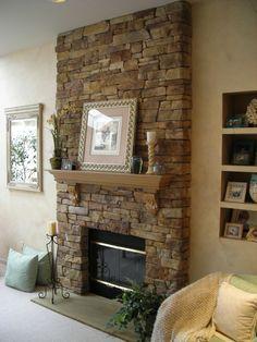 steinwand im wohnzimmer rustikal holzboden und kamin | diy | pinterest, Wohnzimmer dekoo