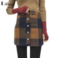 f6adc36d38 Women 90`s Vintage High Waist Short Skirt Female Autumn Winter Plaid Thick  Pencil Skirts
