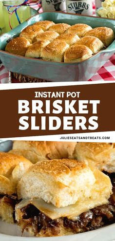 Tender shredded brisket cooked in your instant pot! It is very delicious and tender it is the perfect sliders for a party. These Instant Pot Brisket Sliders with Caramelized Onions will be your new favorite. Save this pin for later! Brisket Side Dishes, Brisket Sides, Oven Brisket, Brisket Tacos, Brisket Rub, Brisket Chili, Smoked Brisket, Slider Sandwiches, Sliders