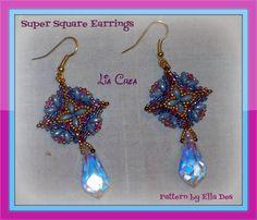 Super square earrings - pattern by Ella Des