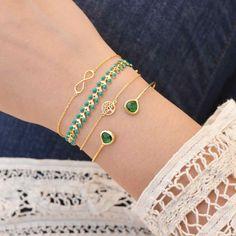 Duo Iris Green Gold Jonc Bracelet - Majolie