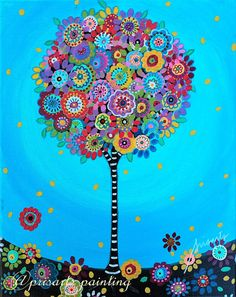 Folk Art Pristine Whimsical Tree of Life LOVE Flowers Florals Prisarts Original Painting 11 X 14 Bat Mitzvah, Original Paintings For Sale, Original Art, Religion, Dot Painting, Painting Prints, Moon And Stars Wallpaper, Art Fantaisiste, Tree Of Life Symbol
