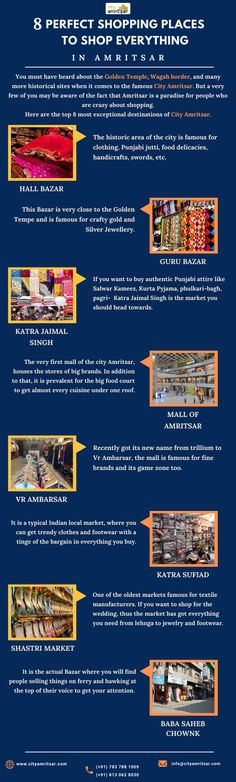 """Amritsar is a famous for the numerous tourist destinations around the city. But, this city has some great places to shop. Take a closer look at the Infographic presenting """"8 Perfect Shopping Places to shop everything in Amritsar"""". Know every thing about City Amritsar and Punjabi Culture.  #shoppinginAmritsar #placestovisitinamritsar #amritsartouristattractions #holycityamritsar #shoppingplacesinamritsar Punjabi Culture, Meditation Retreat, Golden Temple, Virtual Travel, Shopping Places, Amritsar, Great Places, Holi, Travel Guide"""