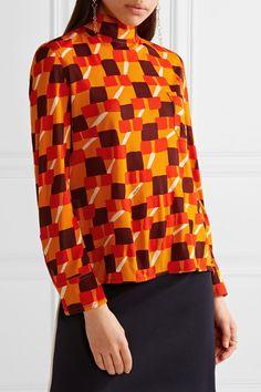 Prada - Printed Crepe Top - Orange - IT40