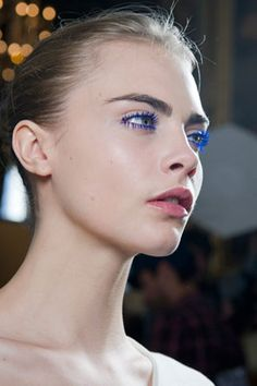Bright blue mascara at the Stella McCartney show.