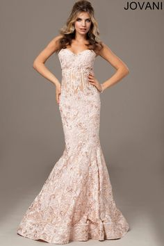 Blush Strapless Mermaid Gown 25611 - Evening Dresses