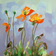 Orange Poppies Painting   angela moulton's painting a day
