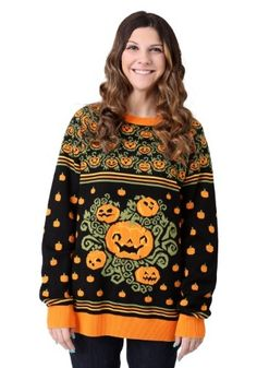 Ugly sweater season just got a whole lot better! Now, you can bring the tradition of wearing ugly sweaters to Halloween. Shop our selection of exclusive ugly Halloween jumpers and start your ugly sweater Halloween tradition this year. Easy Halloween Costumes, Adult Halloween, Halloween Outfits, Fall Outfits, Halloween Fashion, Funny Halloween, Pumpkin Halloween Costume, Halloween Sweatshirt, Halloween Halloween
