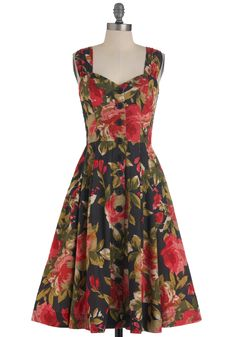 This dress is ridiculously flattering.    Brunch with Buds Dress in Blossoms by Emily and Fin - Multi, Red, Green, Brown, Floral, Buttons, Pleats, Party, Vintage Inspired, Sleeveless, Fit & Flare, Long
