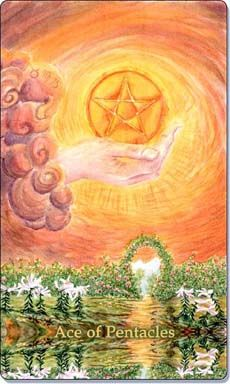 Ace of Pentacles associated with strength, stability and luck.