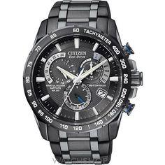 Mens Citizen Chrono Perpetual A-T Alarm Chronograph Radio Controlled Eco-Drive Watch AT4007-54E