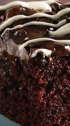 Chocolate Chip-Caramel Poke Cake