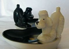 Poodle Trinket Trays - Vintage Retro Kitsch Ceramic Figurine Ornament