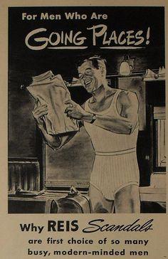 1940s REIS Scandals Men's Briefs Underwear Illustration Tank Top Vintage Advertisement
