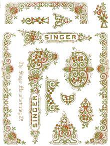 Singer 28/128 Decals for Restorations Tiffany Design Multi-Color  SingerDecals.com