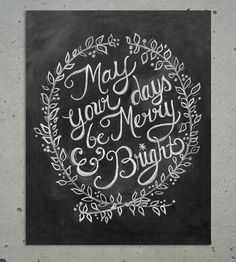 Merry & Bright Christmas Chalkboard//