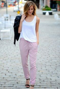 Comfy&Cozy&Fashionable #pink #sweats #white #t #shirt #jacket #black #blonde #model #pose #fashion #fashionable #inspire #inspirational #casual #comfy #cozy #walking #Pinterest #pin #love #like #pin #it #try #fun