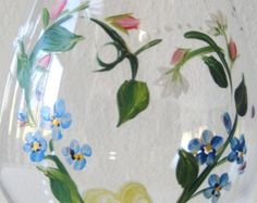 hand painted glass pitcher with pansies Mothers by TivoliGardens